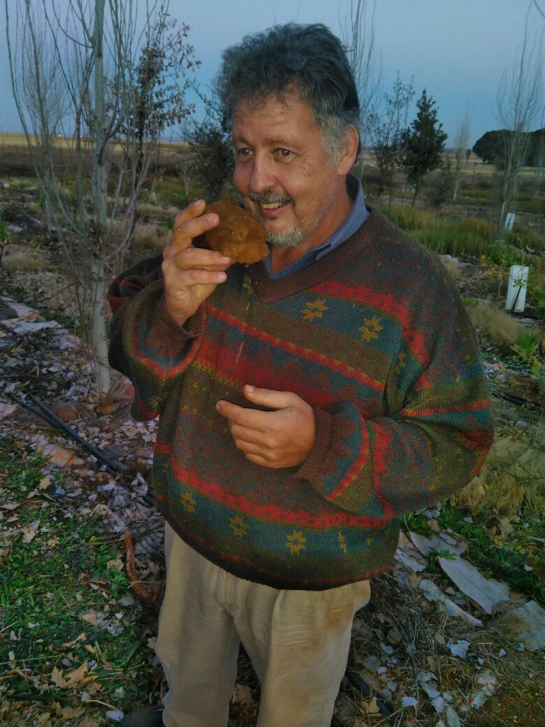 Farmer with his 380g truffle in South Africa