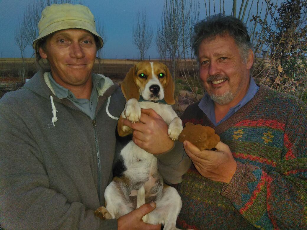Truffle Farmer with truffle Dog and Leon Potgieter with the 380g truffle in South Africa